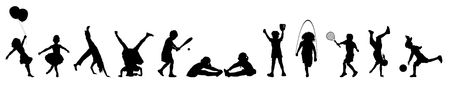 ni�os con pancarta: silueta bandera de los ni�os que juegan diversas actividades