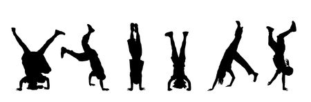 headstand: silhouette of children doing headstands and handstands
