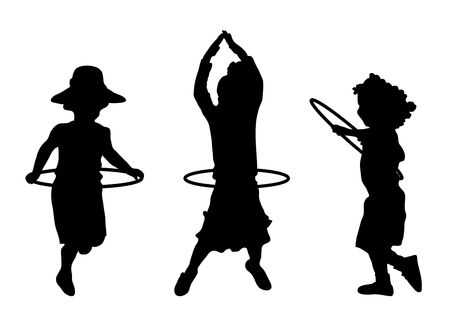 silhouette of children playing with hula hoops