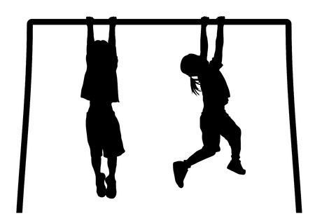 monkey silhouette: silhouette of children playing on monkey bars