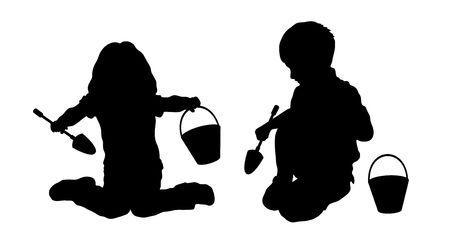 silhouet van spelende kinderen in de zandbak Stockfoto