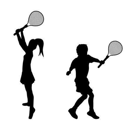 children playground: silueta de los ni�os jugar al tenis