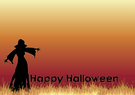 silhouette of vampiress with Happy Halloween on fire background photo