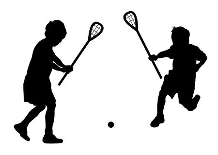 silhouette of children playing lacrosse on white photo
