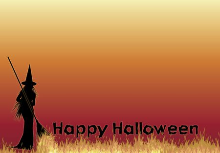 silhouette of witch with Happy Halloween on fire background photo