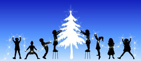tree trimming: illustration of children decorating a christmas tree with lights Stock Photo