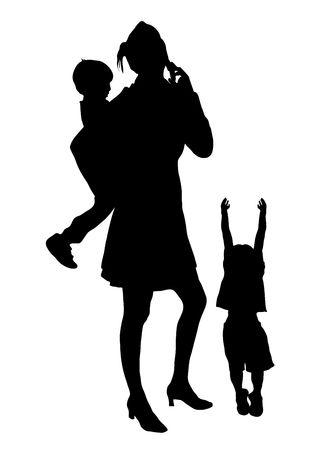 silhouette of busy mother with children