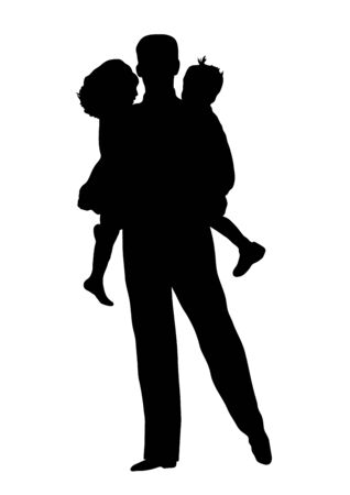 silhouette of father holding children