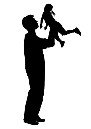silhouette of father holding child