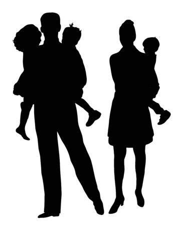 silhouette of family on white background photo