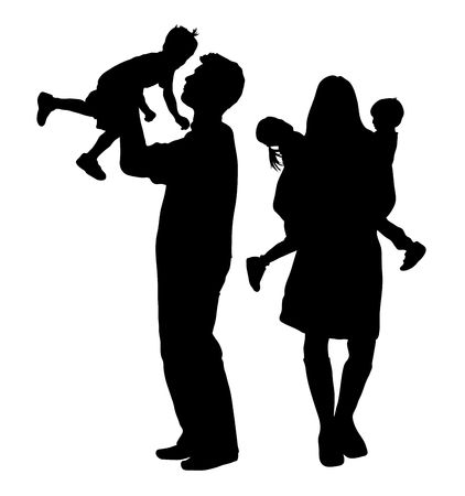 silhouette of family on white background Stock Photo
