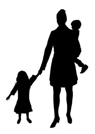 mama e hijo: silueta de la madre con los ni�os Foto de archivo