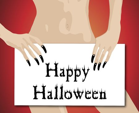 illustration of woman holding halloween sign illustration