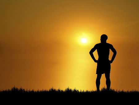 silhouette of man at sunset Stock Photo - 3694771