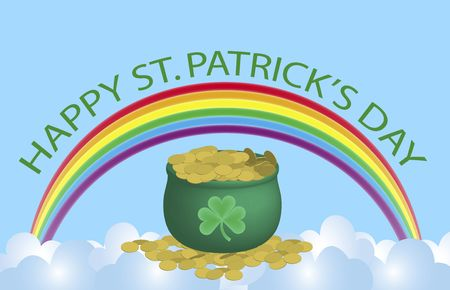 Happy St. Patrick sign over rainbow and pot of gold Stock Photo