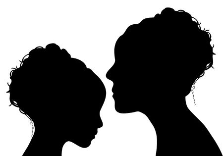 silhouette of mother and daughter Stock Photo