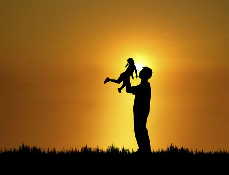 family fun day: silhouette of father and daughter at sunset