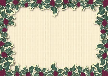 illustration border of holly on ivory pattern Stock Illustration - 3727092