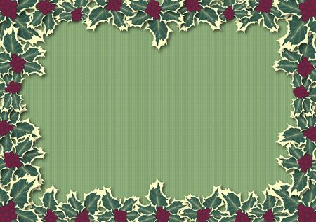 illustration border of holly on green pattern Stock Illustration - 3761662