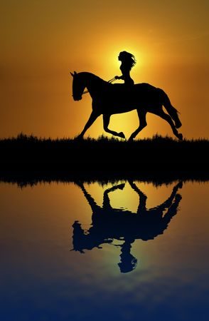 Illustration of woman riding horse at sunset