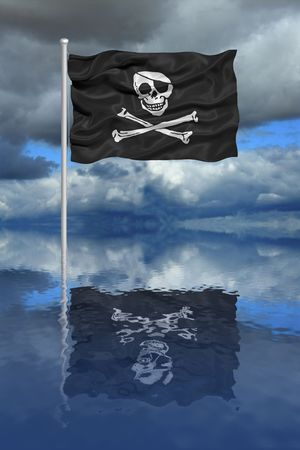 illustration of pirate flag reflecting in water