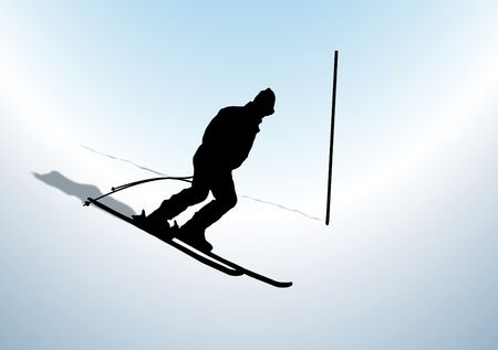 silhouette of downhill skier with pole marker photo