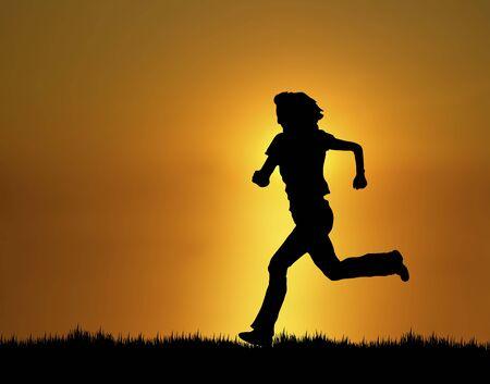 silhouette of woman running at sunset/sunrise Stock Photo - 3813780