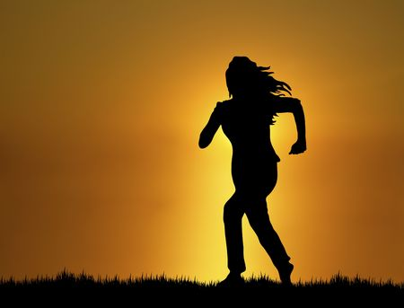 silhouette of woman running at sunset/sunrise Stock Photo - 3813778