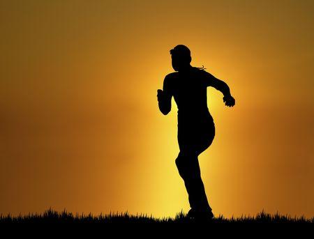 silhouette of woman running at sunset/sunrise 스톡 콘텐츠