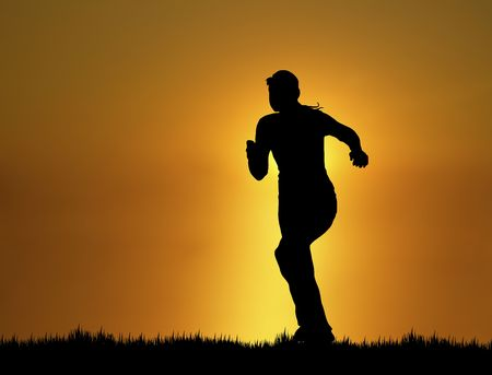 silhouette of woman running at sunsetsunrise