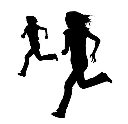 silhouette of women running on white