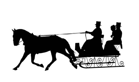 horse pull: silhouette of couple in horse drawn sleigh Stock Photo