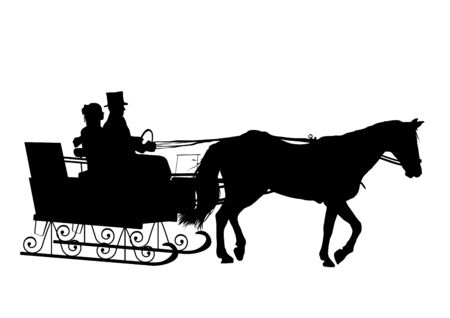 horse drawn: silhouette of couple in horse drawn sleigh Stock Photo