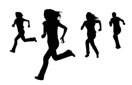 silhouette of women running on white Stock Photo - 3818415