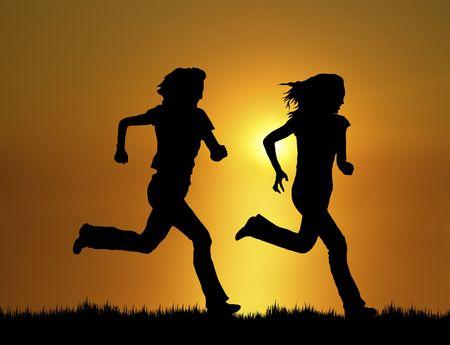 silhouette of two women running at sunsetsunrise
