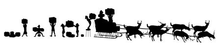 silhouette of Santas elves loading sleigh with reindeer