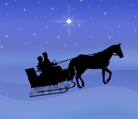 silhouette of couple in horse drawn sleigh at night Stock Photo
