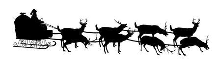 papa noel en trineo: silueta de la Santa en trineo con renos