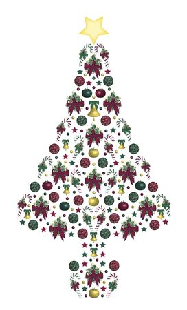 illustration of abstract Christmas tree on white Stock Illustration - 3881125