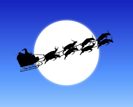 pull: silhouette of Santas sleigh across moon Stock Photo