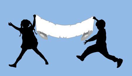 illustration of two children holding up blank sign illustration