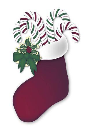 illustration of candy cane filled red stocking illustration