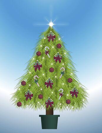 illustration of decorated Christmas tree illustration