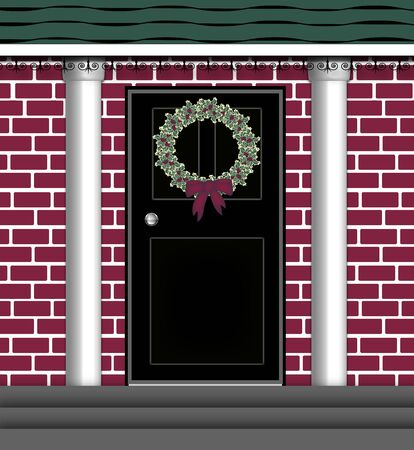 illustration of front door with Christmas wreath illustration