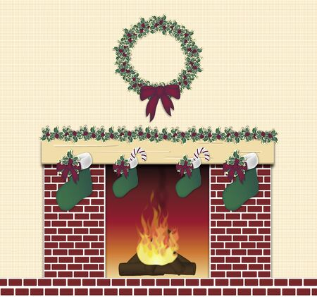 illustration of red brick festive fireplace illustration