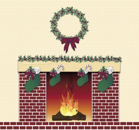 festive: illustration of red brick festive fireplace