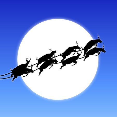 silhouette of Santa's reindeer across moon Stock Photo - 3911659