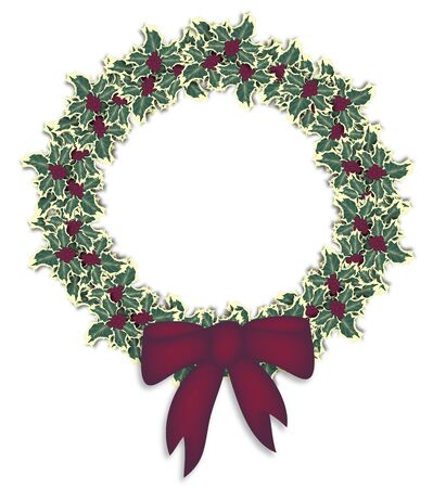 illustration of isolated holly wreath