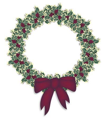 illustration of isolated holly wreath illustration