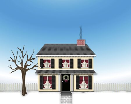 illustration of house in winter Imagens